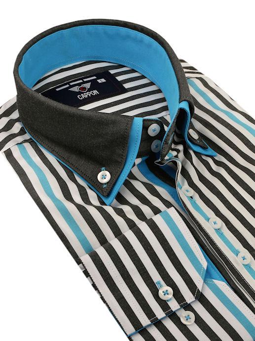 5a0128bfadba CAPPON Prúžkovaná košeľa šedo-tyrkysová (klasický strih) - All4Men.sk