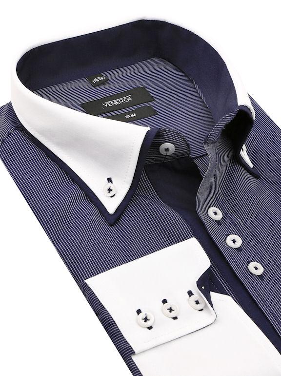 6bf27b0252f3 Modrá kombinovaná košeľa VENERGi (slim) - All4Men.sk