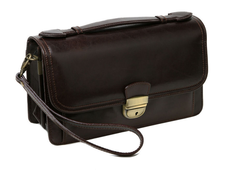 3f7059d62 Luxusná pánska taška na doklady HAJN - hnedá tmavá čokoládová - All4Men.sk