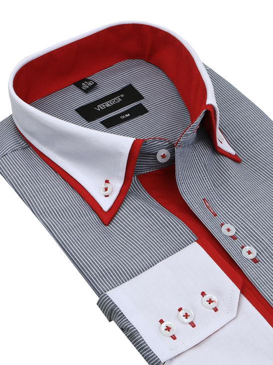 570be3958df7 Šedo-červená košeľa s bielym golierom VENERGi (predĺžená slim) - All4Men.sk