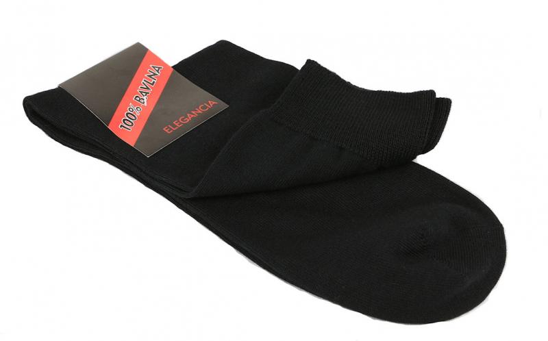 cd7486d1632 Bavlnené pánske ponožky ELEGANCIA - čierne hladké 100% BA 72405 - All4Men.sk