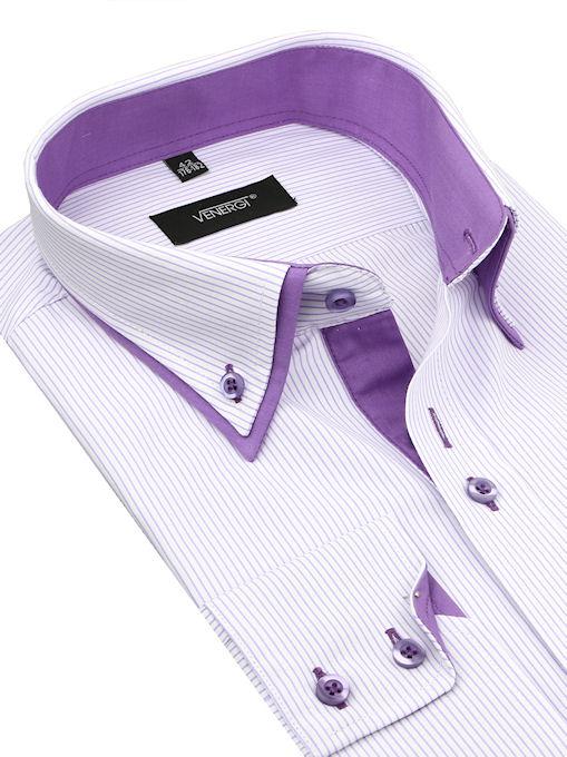 b54057055a21 Bielo-fialová kombinovaná košeľa VENERGI (klasický s.) - All4Men.sk