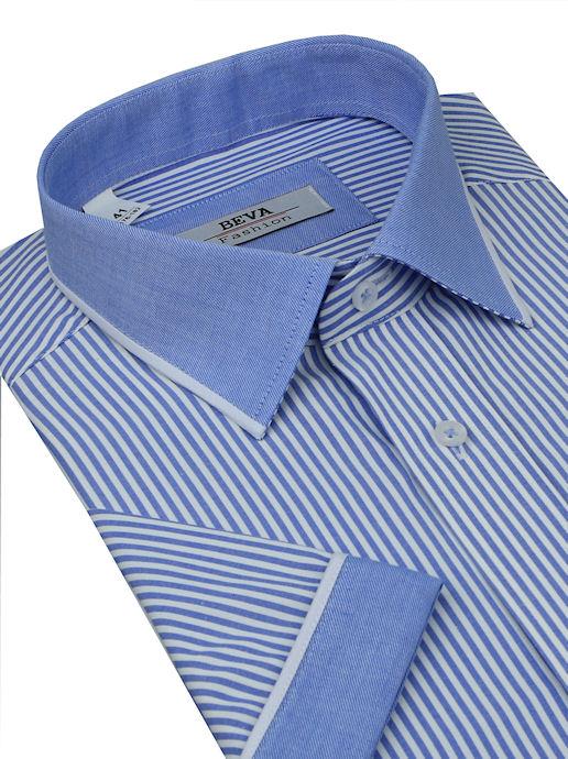 658d07ee2c53 Exkluzívna modrá košeľa BEVA Fashion
