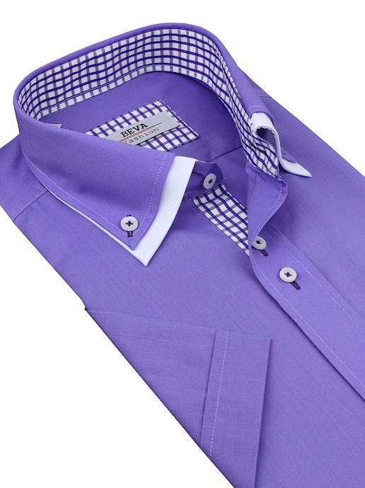 4e7bc90ad296 Fialová pánska košeľa BEVA Fashion