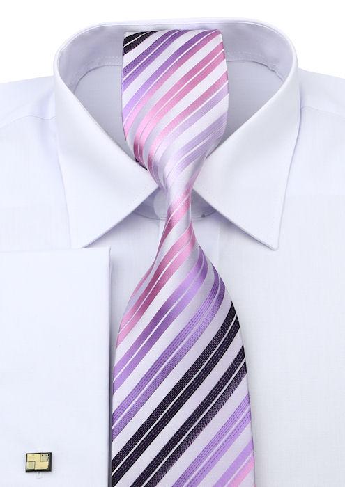 fa90cc0f7bdf Biela košeľa na manžetové gombíky VENERGI (klasický strih) - All4Men.sk