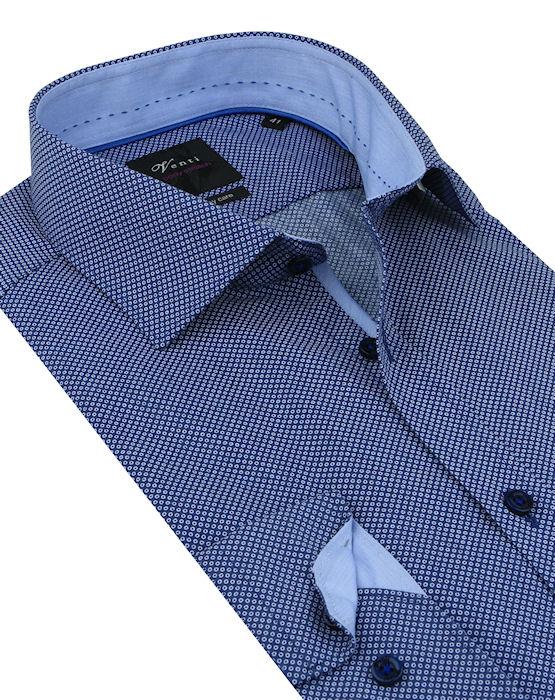 aee3025757b0 Modrá vzorovaná biznis košeľa VENTI (slim) - All4Men.sk