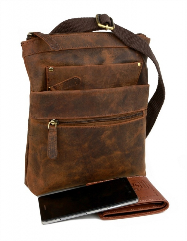 Crossbag - taška cez plece MERCUCIO 250847 hnedá - All4Men.sk cc093dc0812