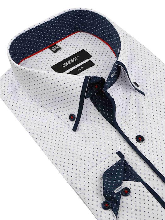 2bf95dd476e3 Bielo-modrá košeľa VENERGi (predĺžená slim) - All4Men.sk