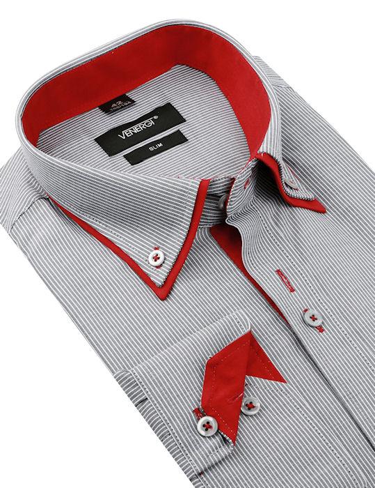 e455f9041f80 Šedo-červená košeľa VENERGi (predĺžená slim) - All4Men.sk