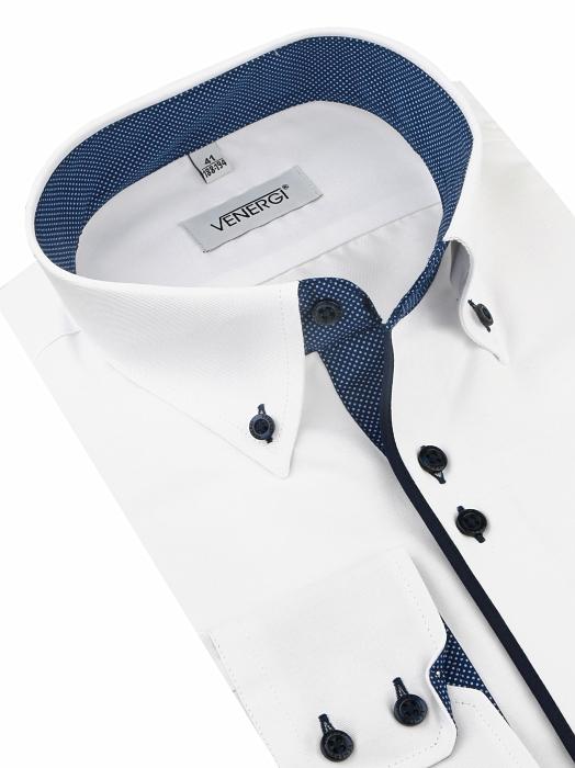 7a0a882a7f1e Biela košeľa s modrým kontrastom VENERGI (predĺžená klasický s.) -  All4Men.sk