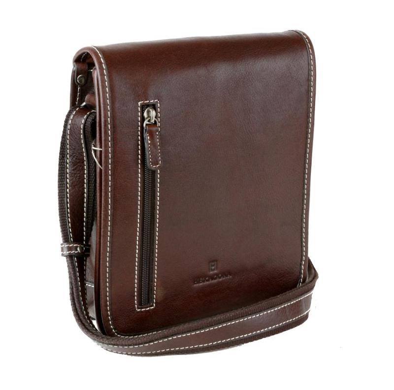 a30473501 Kožená taška na rameno HEXAGONA 123483, hnedá - All4Men.sk
