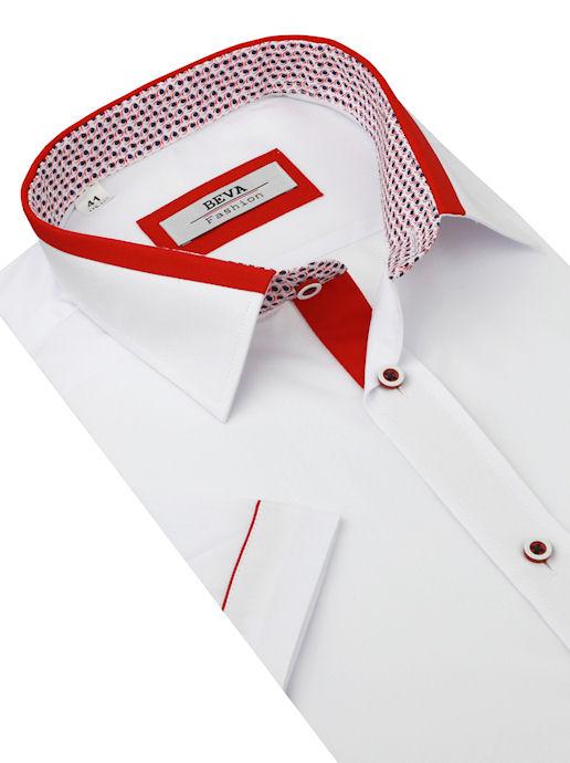 eb4dbaca4272 Bielo-červená košeľa krátky rukáv BEVA KLASIK 2T75 - All4Men.sk