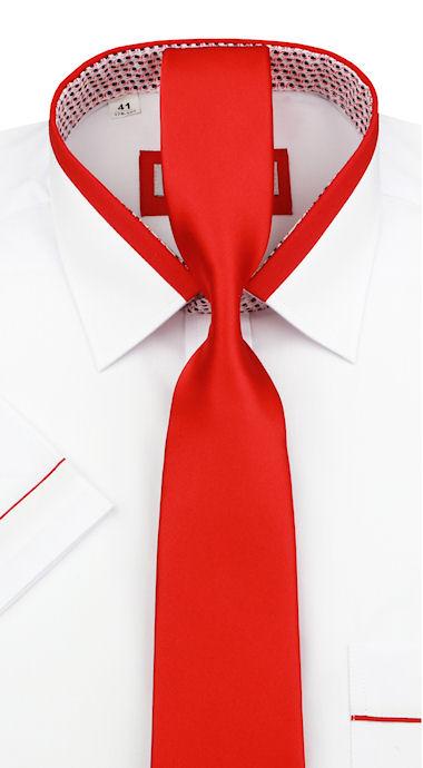 a7ead0c4957e Bielo-červená slim košela s kravatou KOL-2K91 - All4Men.sk
