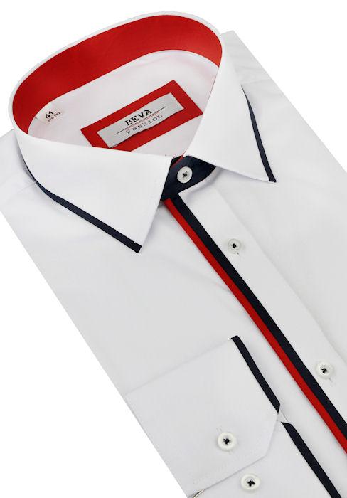 0b55d79df3c1 Biela košeľa s červeno-modrým lemom BEVA (slim) 2K105 - All4Men.sk