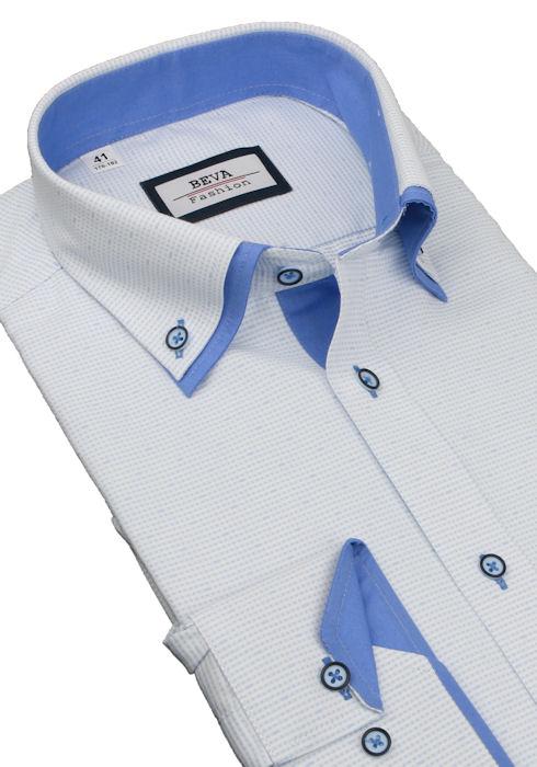 fbeb370b6c8a Modro-biela slim košeľa BEVA 2K138 - All4Men.sk