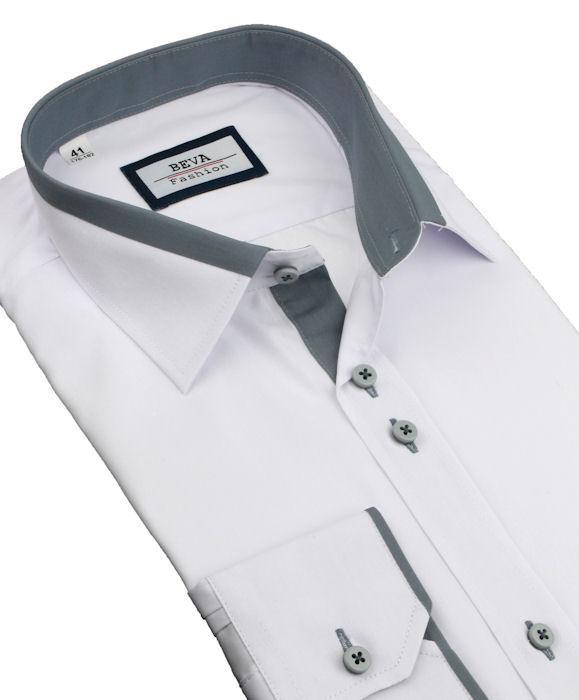 33632886667f Bielo-šedá elegantná slim košeľa BEVA 2k140 - All4Men.sk