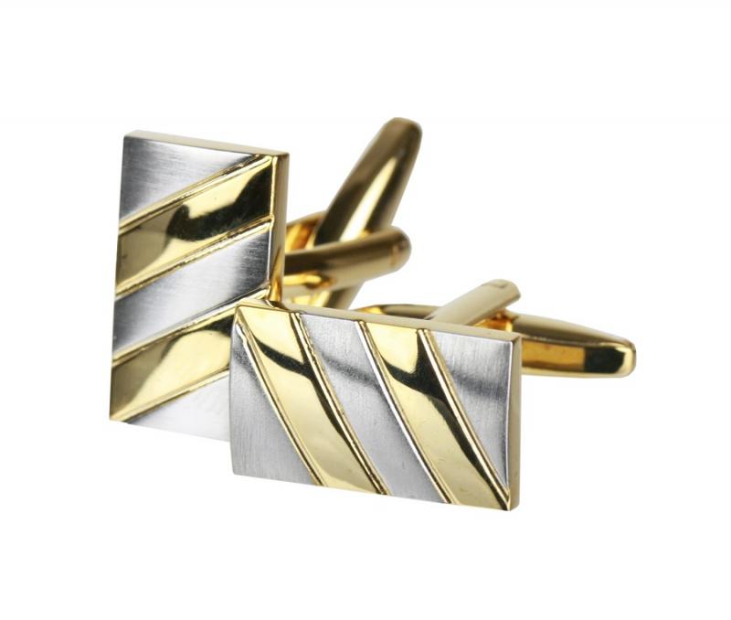 359e0598b468 Manžetové gombíky zlato-strieborné - All4Men.sk