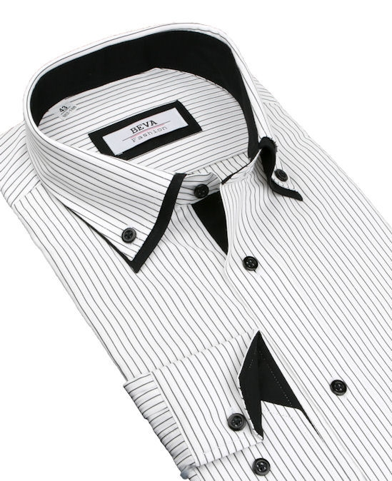 fac0d1b7fce8 Biela košeľa s čiernymi prúžkami BEVA KLASIK 2K237 182-188 cm - All4Men.sk