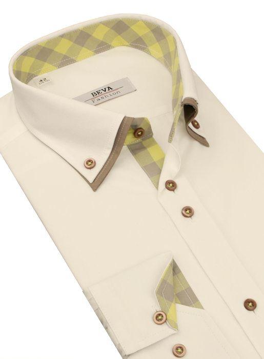 d49b1b7a940a Smotanová košeľa so žlto-béžovým podšitím BEVA KLASIK 2K242 - All4Men.sk