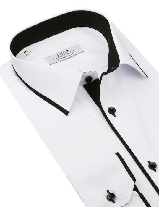 aeaeaacdc4e6 BEVA KLASIK Biela košeľa s čiernym lemom - All4Men.sk