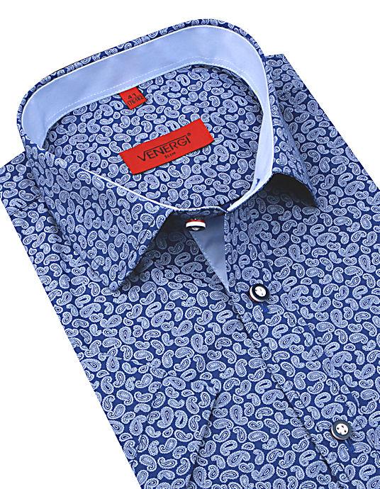 014dac40bda7 Modrá košeľa s potlačou kr.rukáv VENERGI SLIM KR254 - All4Men.sk