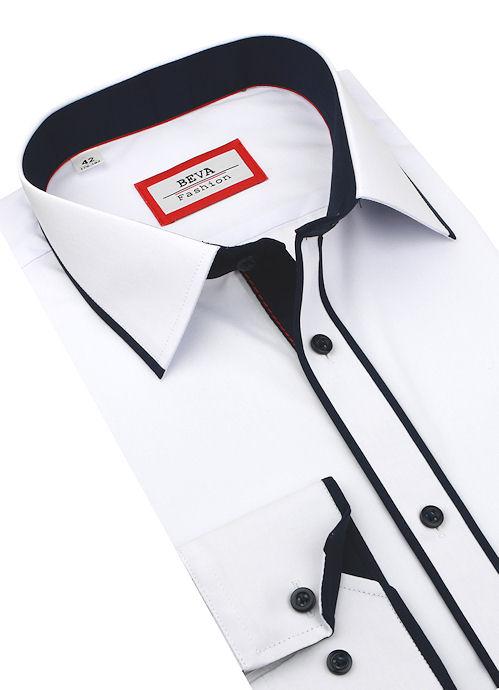 7789372a5bde Biela košeľa s modrým kontrastom BEVA KLASIK 2K255 - All4Men.sk