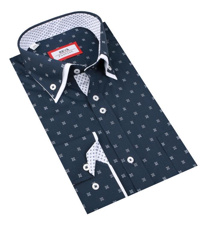 8165409f5995 Pánska modrá vzorovaná košeľa BEVA 2K256 - All4Men.sk