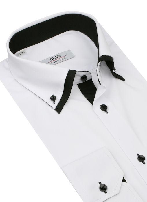 806c5323edaf Bielo-čierna predĺžená košeľa BEVA SLIM K1211 - All4Men.sk