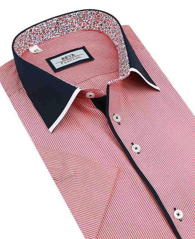 Moderná pánska SLIM košeľa červená prúžkovaná BEVA 137 6 KR 2T49 - All4Men 80de0e15148