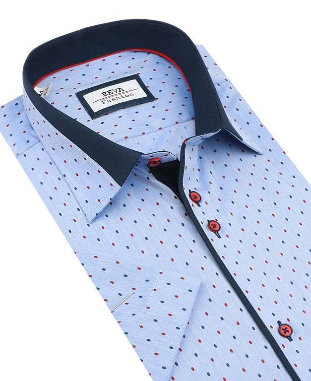 15ba9db59a20 Modrá slim košeľa s bodkami BEVA KR 2T59 - All4Men.sk