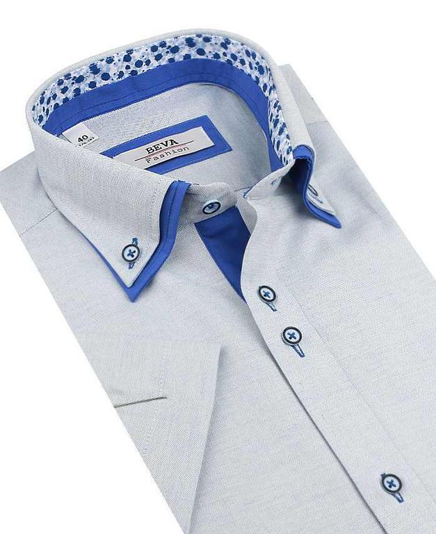 48fe367cd3ff Modrá SLIM košeľa kr. rukáv BEVA 137 6 KR 2K95 - All4Men