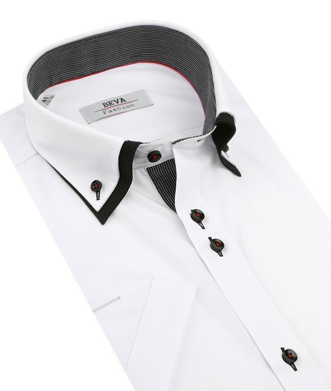 0cbe75e4a847 Elegantná bielo- čierna košeľa BEVA 137 6 KR 2K98 - All4Men.