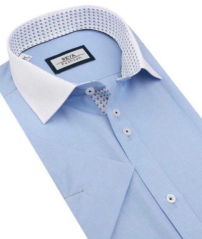 7c08c01b48a3 Modrá košeľa BEVA s bielym golierom 137 6 KR 2T105 - All4Men.