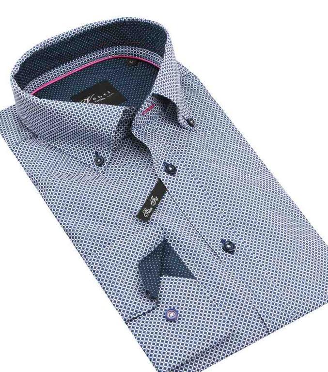9d824c8e4 Modro- biela predĺžená košeľa SLIM VENTI 17282100 - All4Men.sk