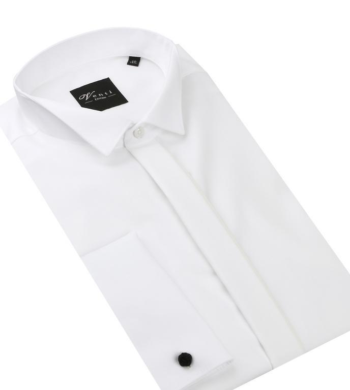 e814de04d13b Biela fraková SLIM košeľa na manžetové gombíky VENTI 001940 - All4Men.sk