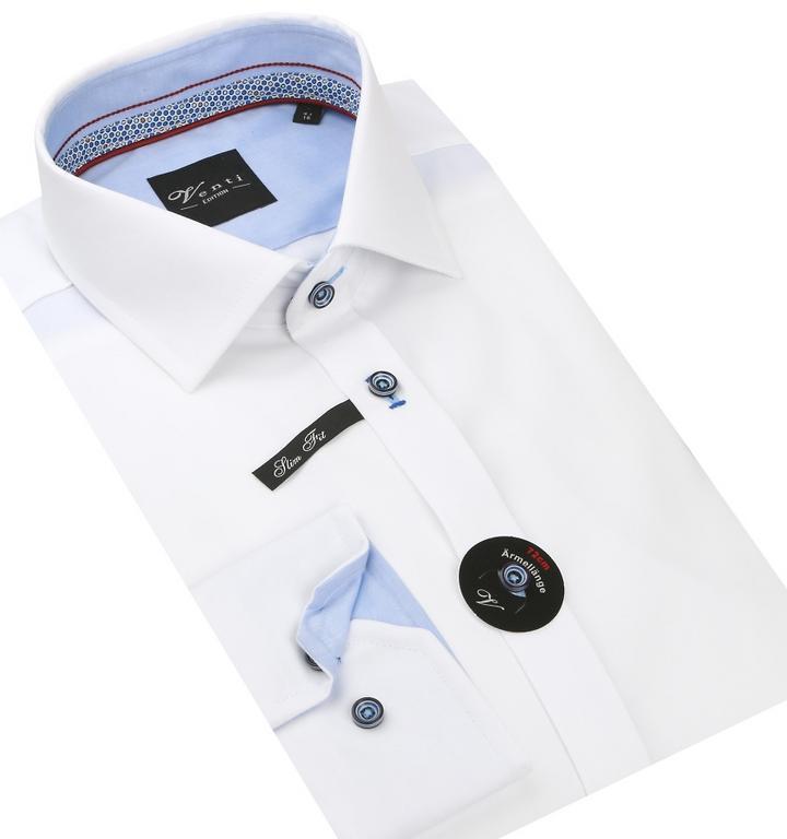 864a896dc630 Biela SLIM košeľa predĺžená VENTI 172808902 - All4Men.sk