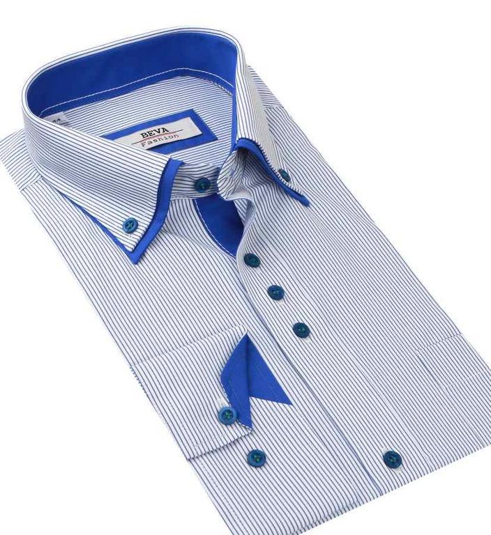 fb628e5f7ee9 Biela košeľa s modrými prúžkami BEVA KLASIK 2K54 - All4Men.sk