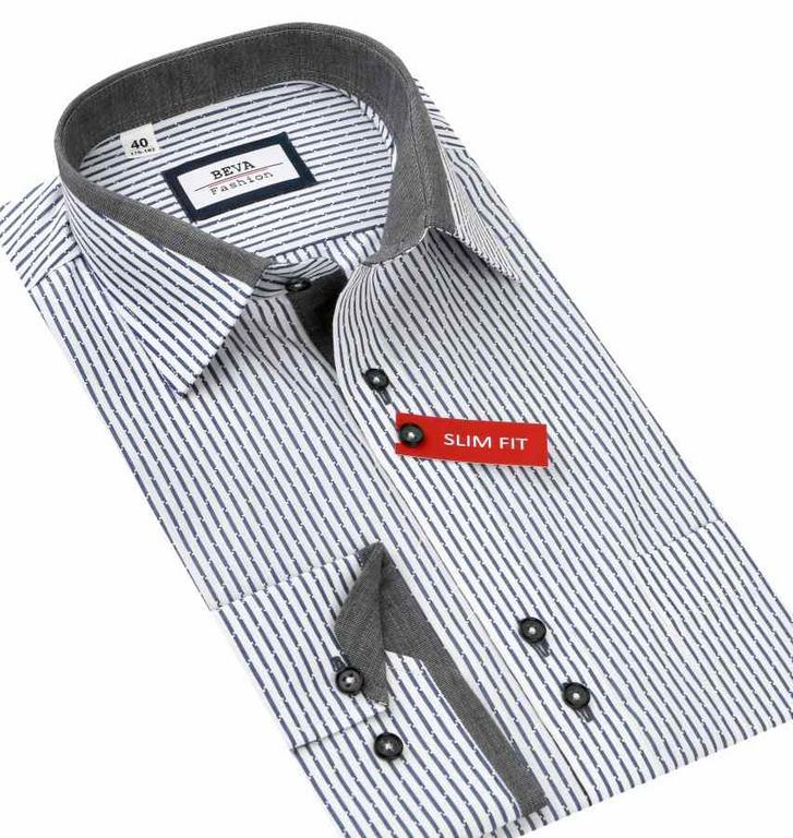 6a2d07471f20 Biela SLIM košeľa s prúžkami BEVA 2T7 - All4Men.sk