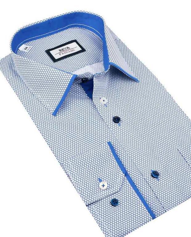 5c1244e2adf5 Bielo-modrá pánska košeľa dlhý rukáv BEVA KLASIK 2T131 - All4Men.sk