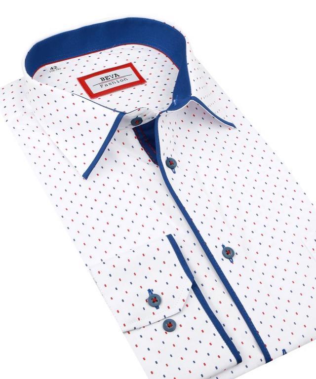 c096a0d21d83 Biela košeľa BEVA KLASIK modrý a červený vzor 2T126 - All4Men.sk