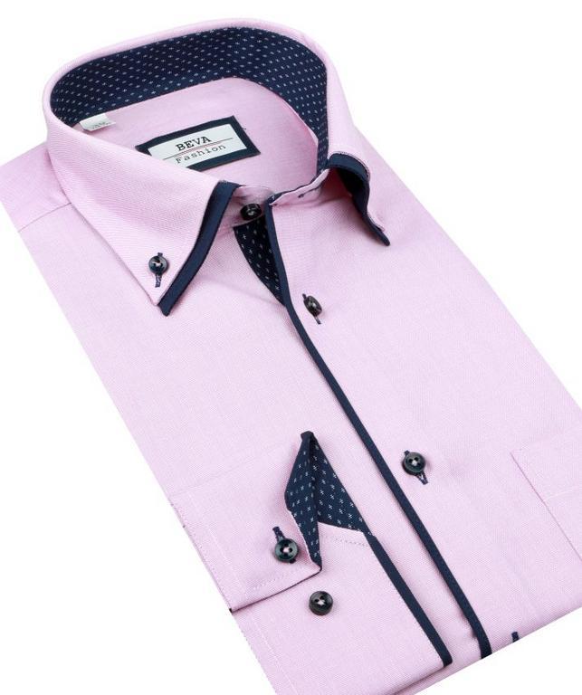 ae7dcdbf5d63 Elegantná ružová SLIM košeľa BEVA 2K143 - All4Men.sk
