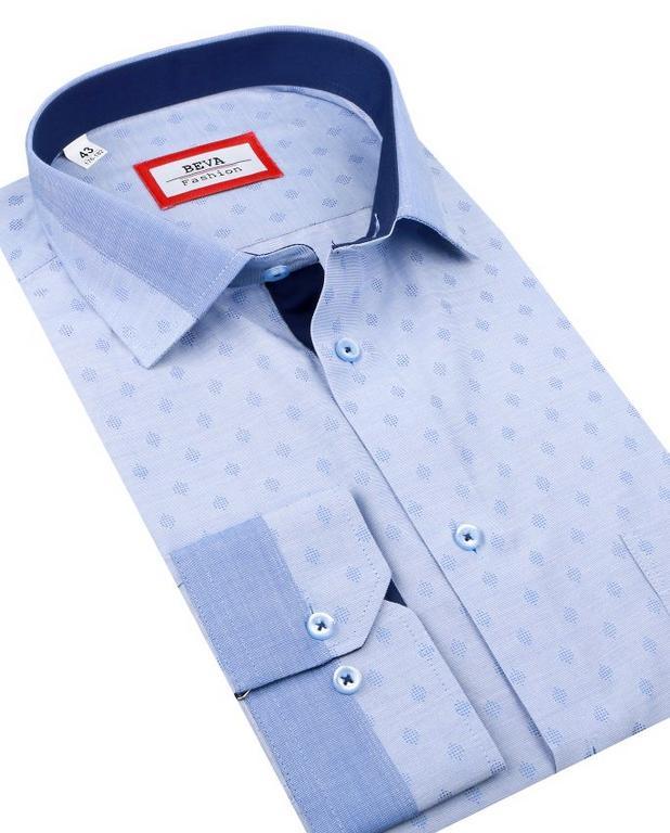 8004718d60fb Trendová modrá pánska košeľa BEVA SLIM 2T120 - All4Men.sk