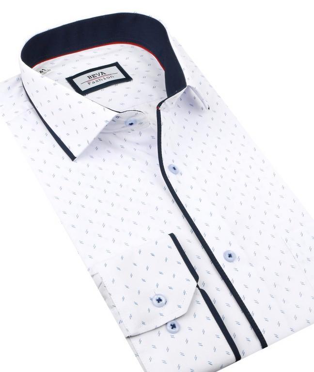 2dd63409c67c Elegantná biela košeľa BEVA SLIM modrý vzor 2T136 - All4Men.sk