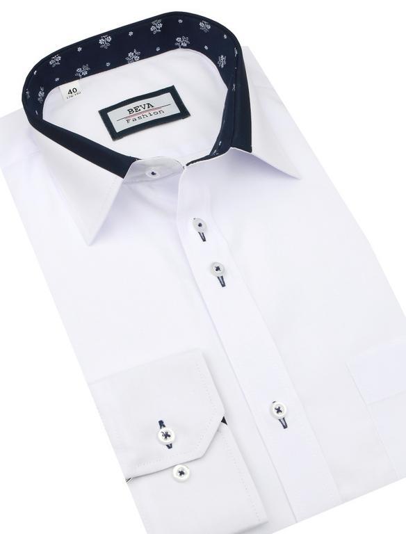 7936d6625900 Elegantná biela košeľa BEVA SLIM dlhý rukáv 2T140 - All4Men.sk