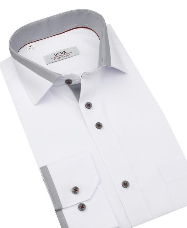 06b1b7d4362c Elegantná pánska biela košeľa so šedým podšitím BEVA KLASIK 2T143 -  All4Men.sk