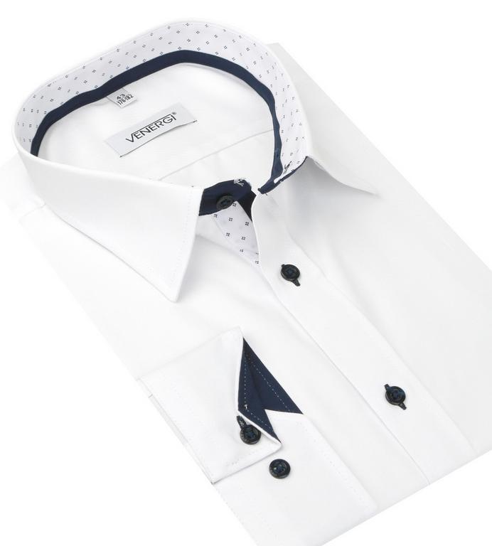 c23f75a11889 Elegantná biela pánska košeľa VENERGI KLASIK - All4Men.sk