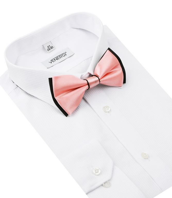 4648d4b7e009 Spoločenská biela košeľa s prúžkami VENERGI KLASIK 229 - All4Men.sk