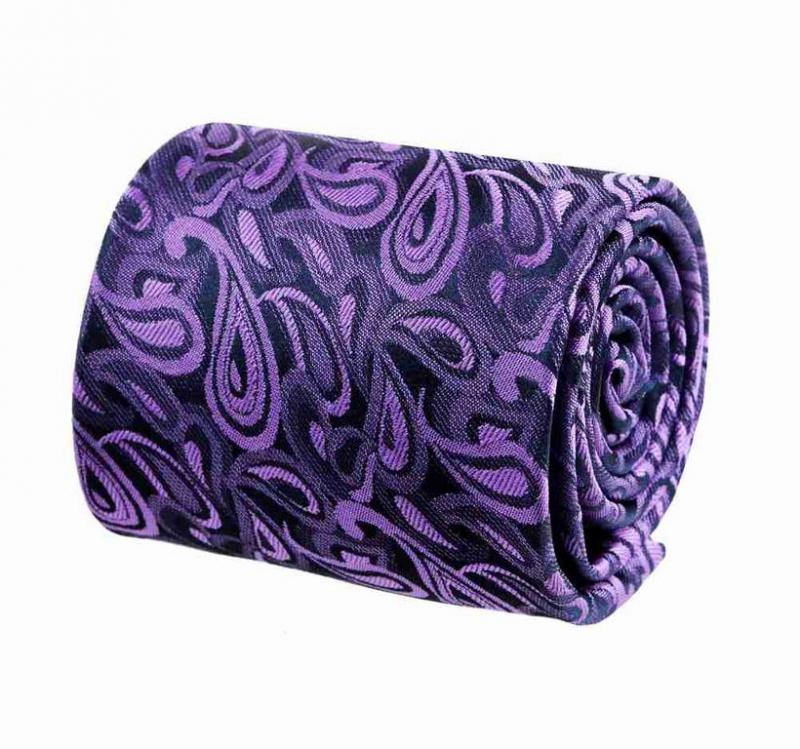 Fialová kravata s kašmírovým vzorom ORSI 8 cm - All4Men.sk 31494527eb
