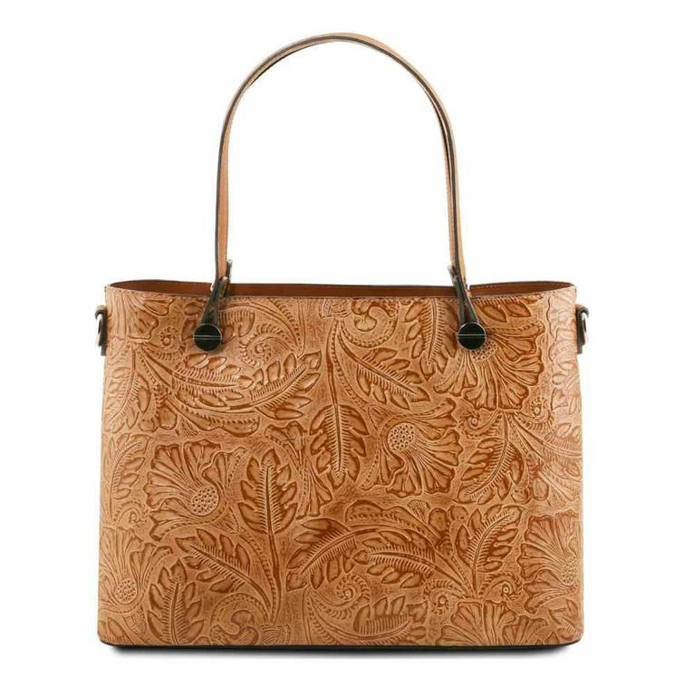 9f07de2efbfb5 Dámska kožená kabelka hnedá ATENA s potlačou TUSCANY - All4Men.sk