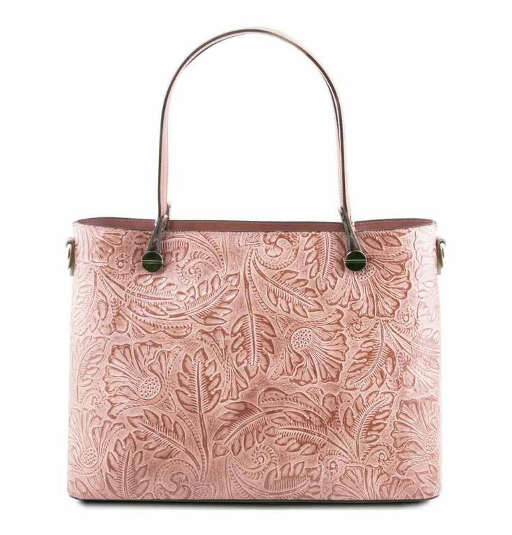 Dámska kožená kabelka ružová ATENA s potlačou TUSCANY - All4Men.sk 7e93f25e73e